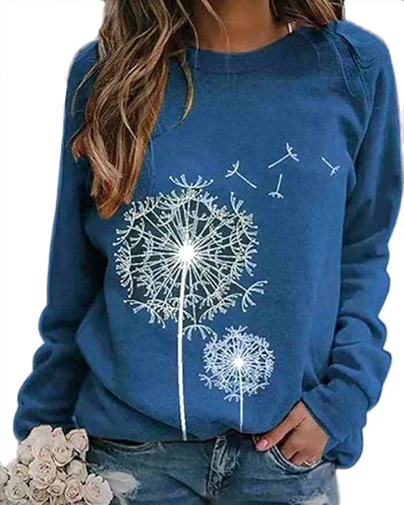 Women's Vintage Graphic Crewneck Sweatshirt Long Sleeve Loose Lightweight Pullover Tops