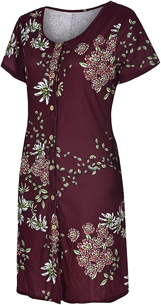 Toamen Womens Summer Dresses Sale Casual Sleeveless Floral Printed Button Up Tunic Top T-Shirt Swing Dress Sundress with Pockets