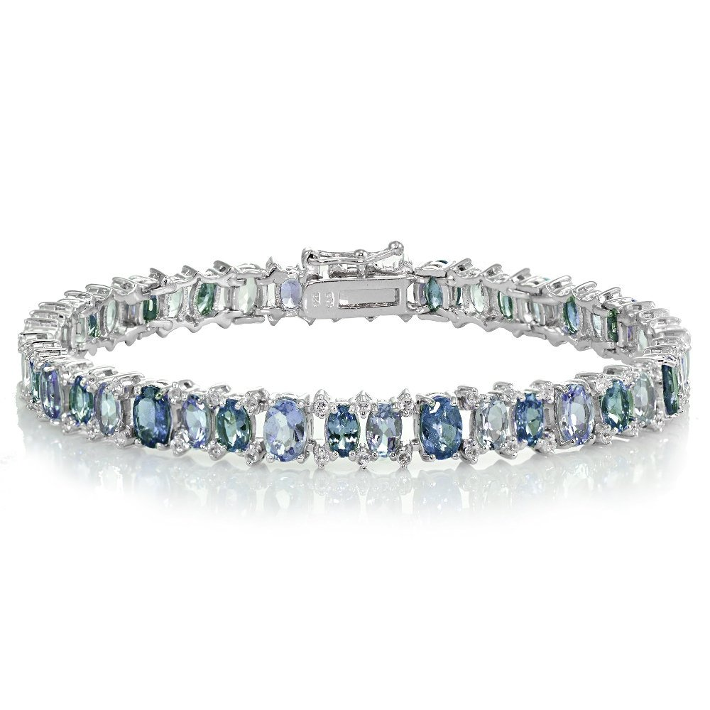 Sterling Silver Tanzanite, London Blue and White Topaz Oval Tennis Bracelet