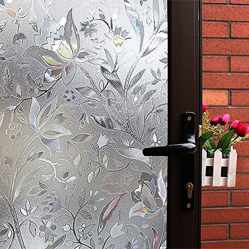 Mikomer Tulip Decorative Window Film,No Glue Frosted Privacy Film,Stained Glass Door Film,Reflective Window Decoration/Static Cling/Vinyl/Heat Control/Anti UV For Home and Office,17.5In. By 78.7In. by Mikomer
