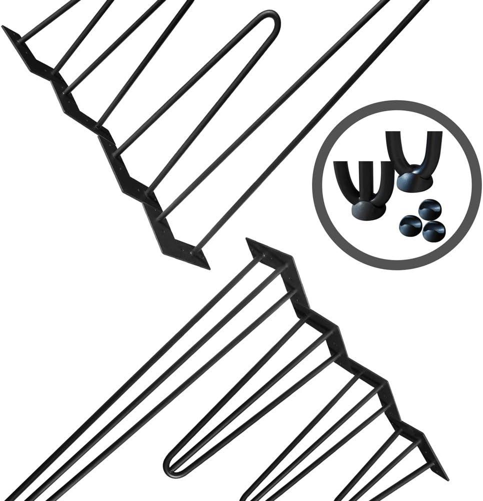 inklusive Bodenschoner AUFUN Haarnadel Tischbeine Schwarz 41 cm Hairpin Legs 4er Set mit 2 Stangen Haarnadelbeine M/öbelbein Tischgestell Tischkufen f/ür Esstisch Couchtisch Schreibtisch Kaffeetisch