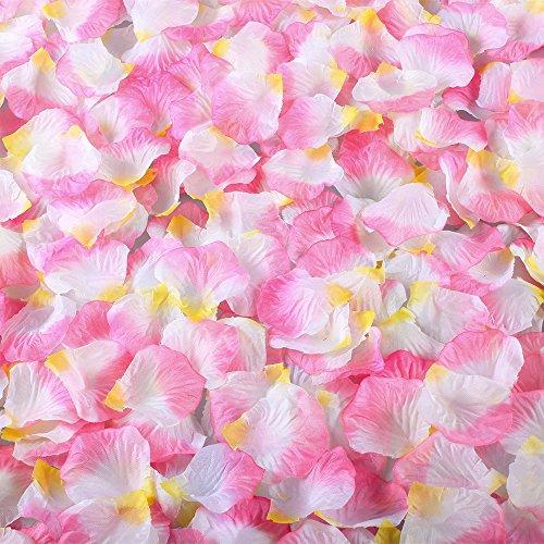 Hogado Rose Petals 2000pcs Artificial Silk Mix Colours Romantic Tabl Scatters Confett for Wedding Party Flower Girls Basket Decor Pink Yellow White