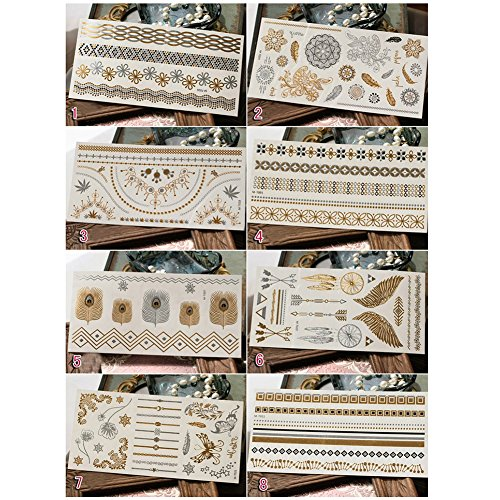 Temporary Metallic Tattoos, Youthful Body Art Bling Tattoos for Adults and Kids, 100+ Shimmer Gold Silver Patterns, 8 Sheets Pack (random pattern)