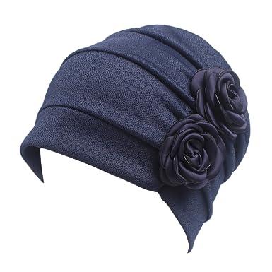 4d4845c2cedf iShine Turban Femme Bandeau Fille Chapeau Musulman Islamique Bonnet Bouchon  Fichu avec Deux Fleurs en Coton Spandex Taille Unique Perte de Cheveux  Cancer ...
