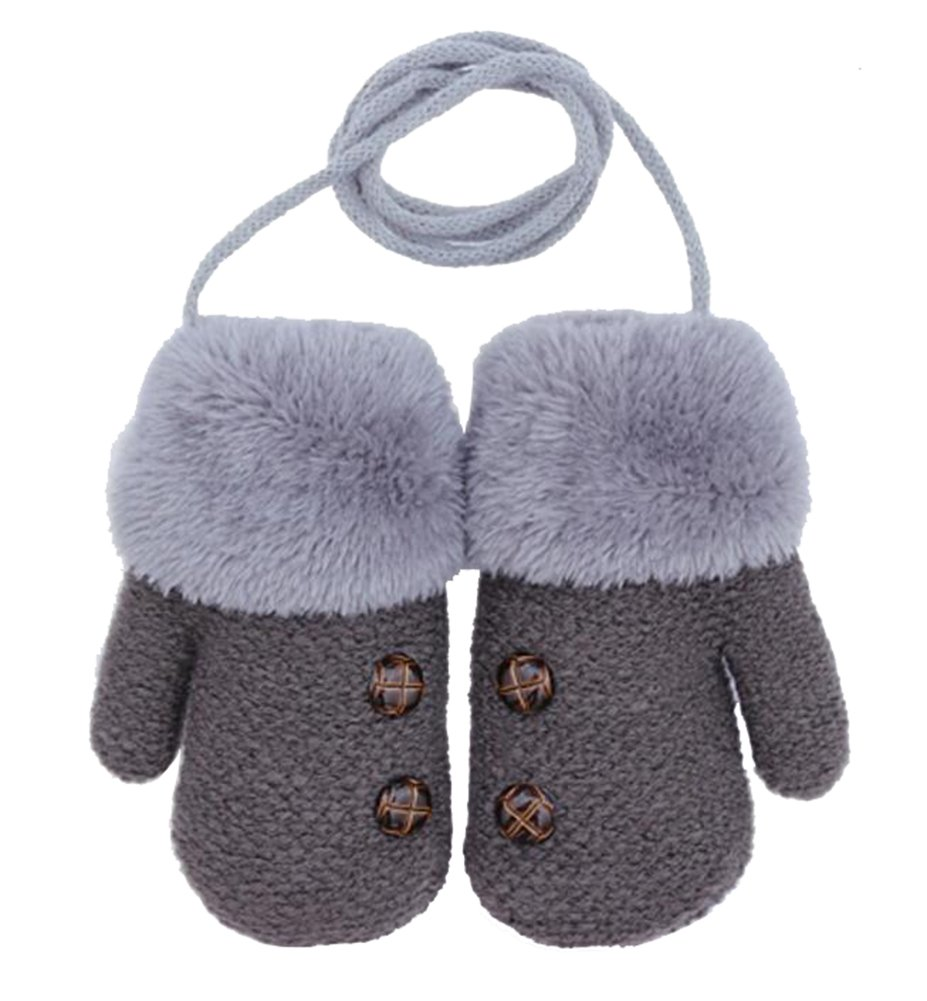 Dorapocket Cute Kids Gloves Baby Knitted Gloves Children Warm Mittens, Dark Gray