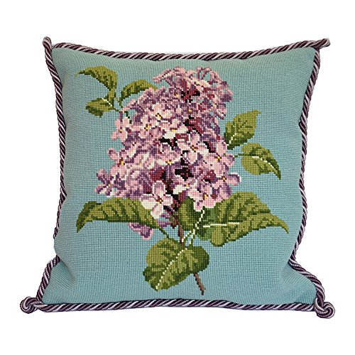 Lilac Needlepoint Tapestry Kit on Duck Egg Blue background from Elizabeth Bradley premium English needlework project with 100% wool yarns. From The Blooms Collection.