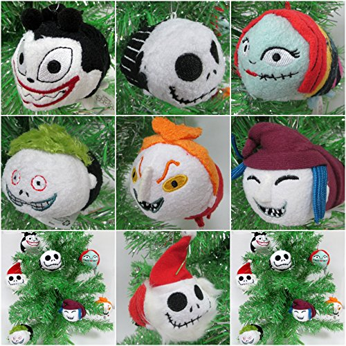 Nightmare Before Christmas Special Mini Plush Christmas Ornament Set Featuring Jack Skellington and Friends - Around 2.5