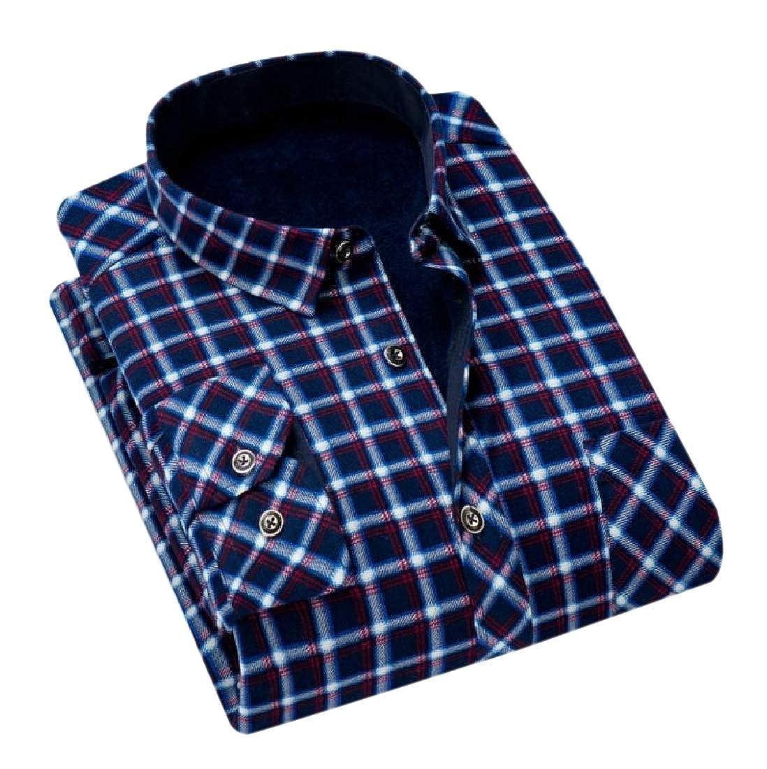 Winwinus Mens Plaid Plus Velvet Tops Thicken Lapel Button-Down-Shirts