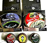 North Star, Jingle 3 Other Holiday Christmas Crazy Aaron's Thinking Putty 5 Pack, Made in The USA, Age 8+