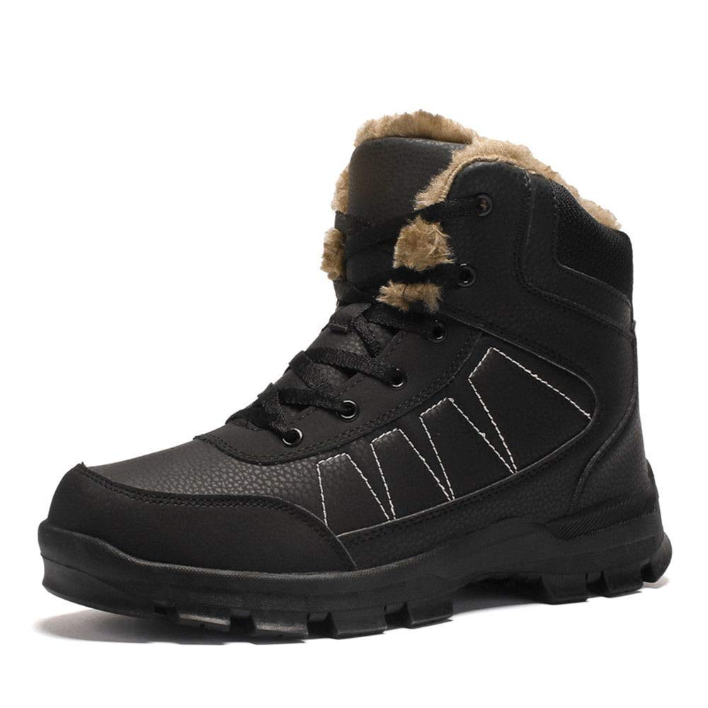 AIRIKE Mens Hiking Boots Snow Boots Waterproof Insulated with Fur Antislip Work Boots Black by AIRIKE