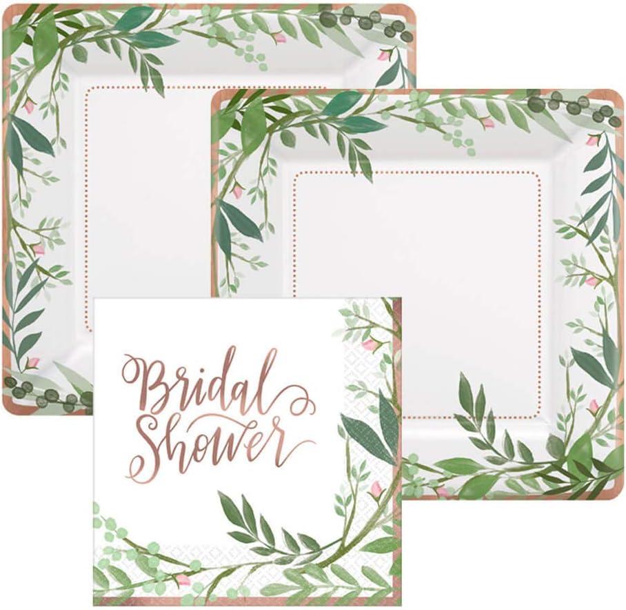 Rose Gold Foil Bridal Shower Paper Dessert Plates and Paper Napkins, 16 Servings, Bundle- 3 Items