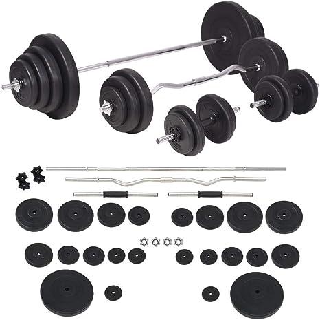 vidaXL Juego de Pesas 120kg Barra y Mancuernas Fitness y ...