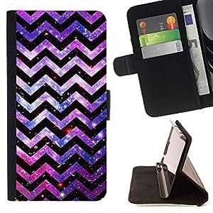 For Apple Apple iPhone 4 / iPhone 4S Case , Líneas Patrón Universo Cosmos rosado- la tarjeta de Crédito Slots PU Funda de cuero Monedero caso cubierta de piel