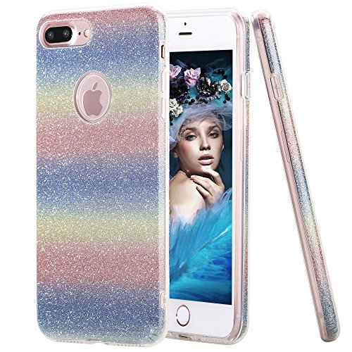 iPhone 7 Plus Case, Hanlesi Shiny Gradient Bling Cover Protective Case for Apple iPhone 7 Plus 5.5 inch, Mix Color