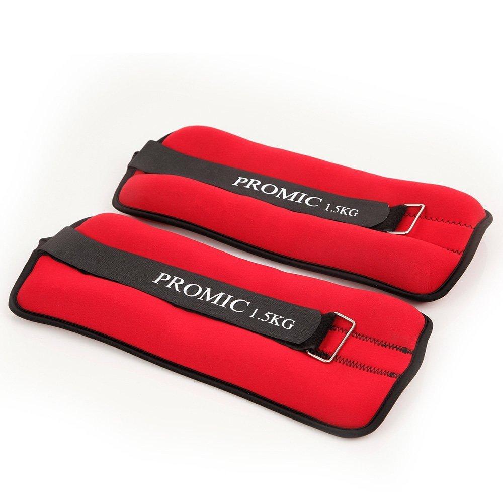2/kg 1/kg rosa//nero set da 2 1.5/kg comfort Fit set di pesi per allenamento fitness palestra per esercizi di resistenza disponibile in 0.5/kg Promic regolabile polso o caviglia pesi