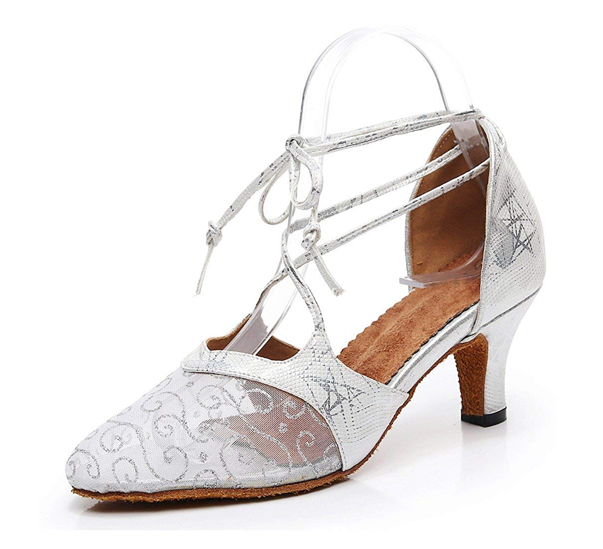 Qiusa Damen Floral gedruckt Silber Mesh Mandel Toe Latin Tanzschuhe Hochzeit Pumps UK 4 (Farbe   - Größe   -)