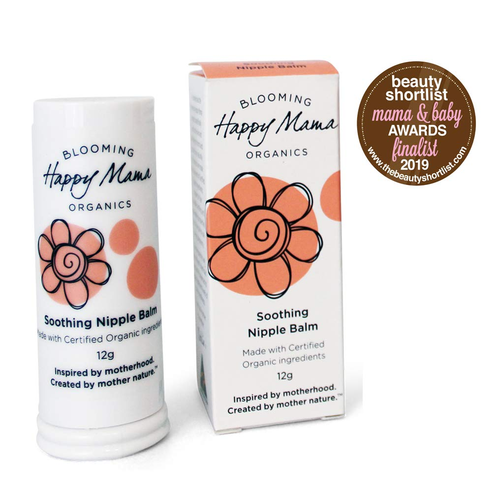 Happy Mama Organics, Award Winning Organic Nipple Cream for Breastfeeding. Soothing, Healing, Natural, Lanolin Free. Relief for Sore, Cracked Nursing Nipples. Safe for Baby, Made in Australia. by Happy Mama Organics