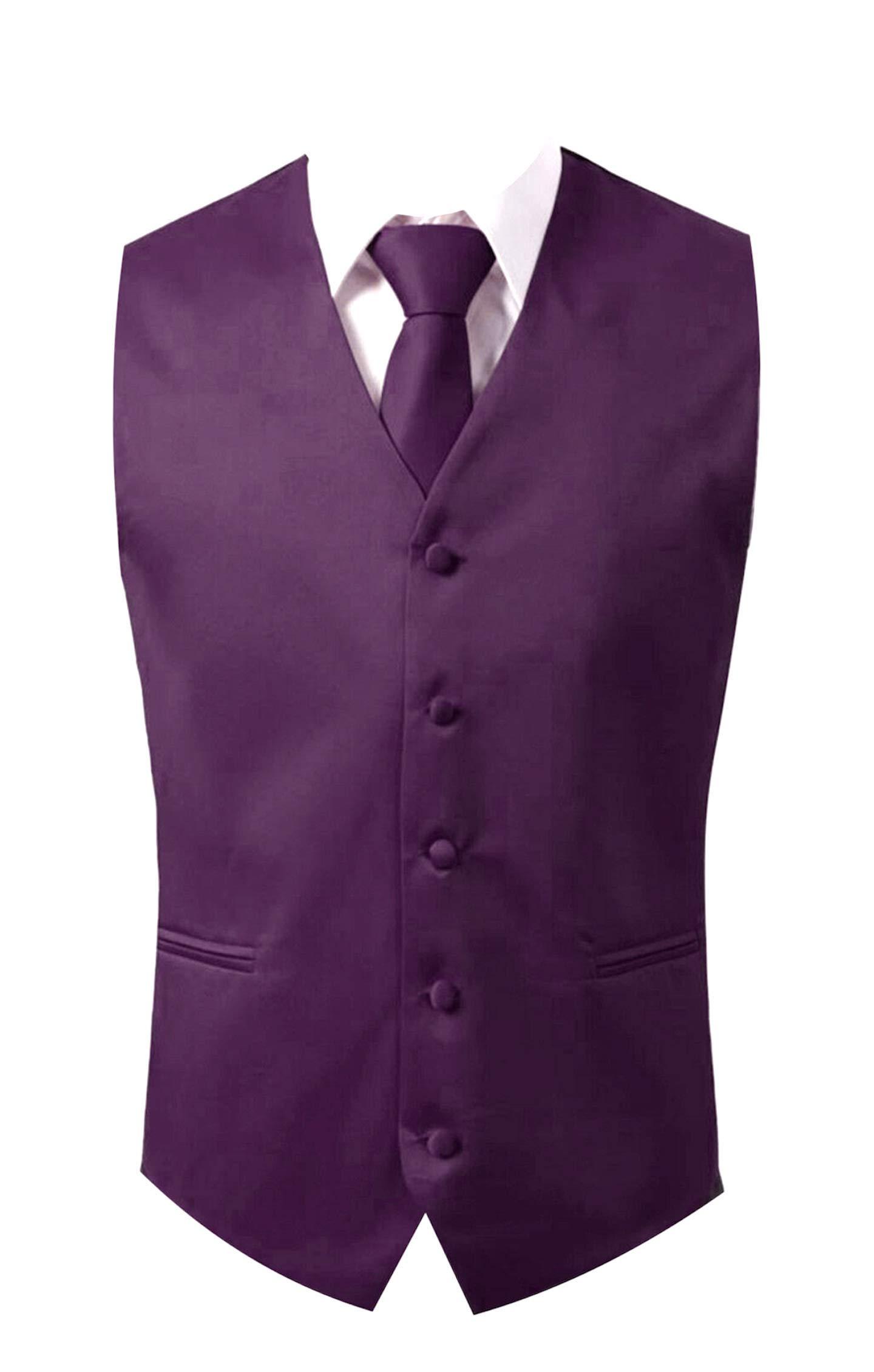 Brand Q 3pc Men's Dress Vest NeckTie Pocket Square Set for Suit or Tuxedo (XS-Purple) by Brand Q