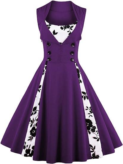 TALLA 3XL. VERNASSA 50s Vestidos Vintage,Mujeres 1950s Vintage A-Line Rockabilly Clásico Verano Dress for Evening Party Cocktail, Multicolor, S-Plus Size 4XL 1357f-púrpura 3XL
