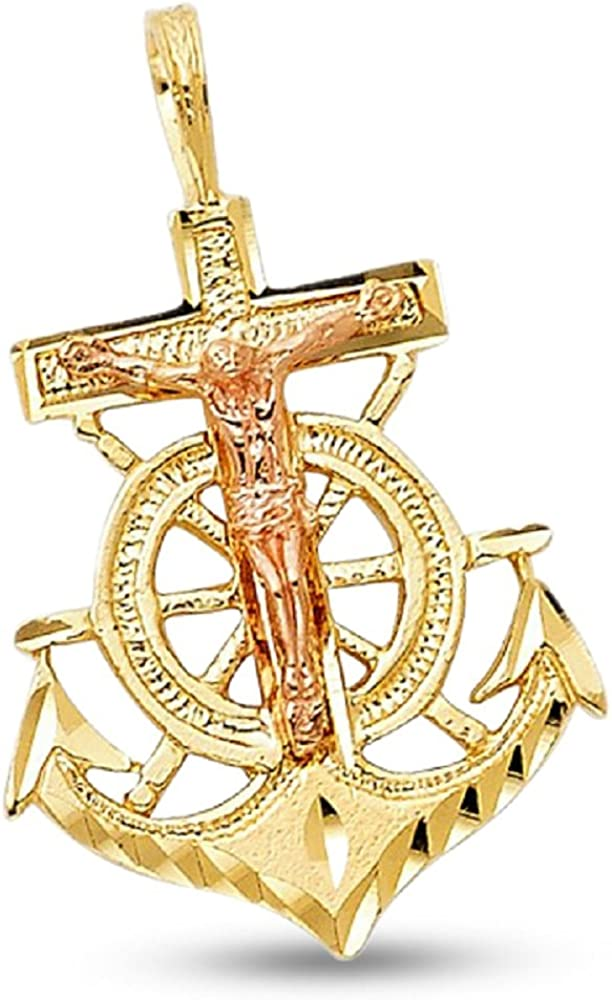 0.91 by 0.71 Inches 14K Solid Yellow Gold Polished Anchor Pendant,