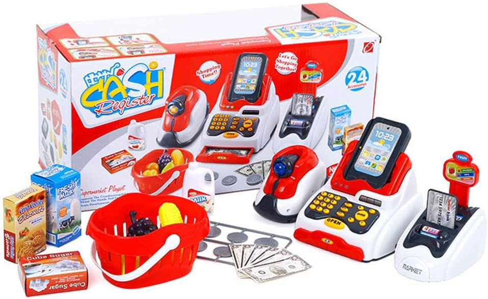 Simulation Supermarket with Shopping Basket and Cash Register Combination Set Educational Toys for Boys and Girls ZDDAB Childrens Cosplay toy Supermarket Cash Register