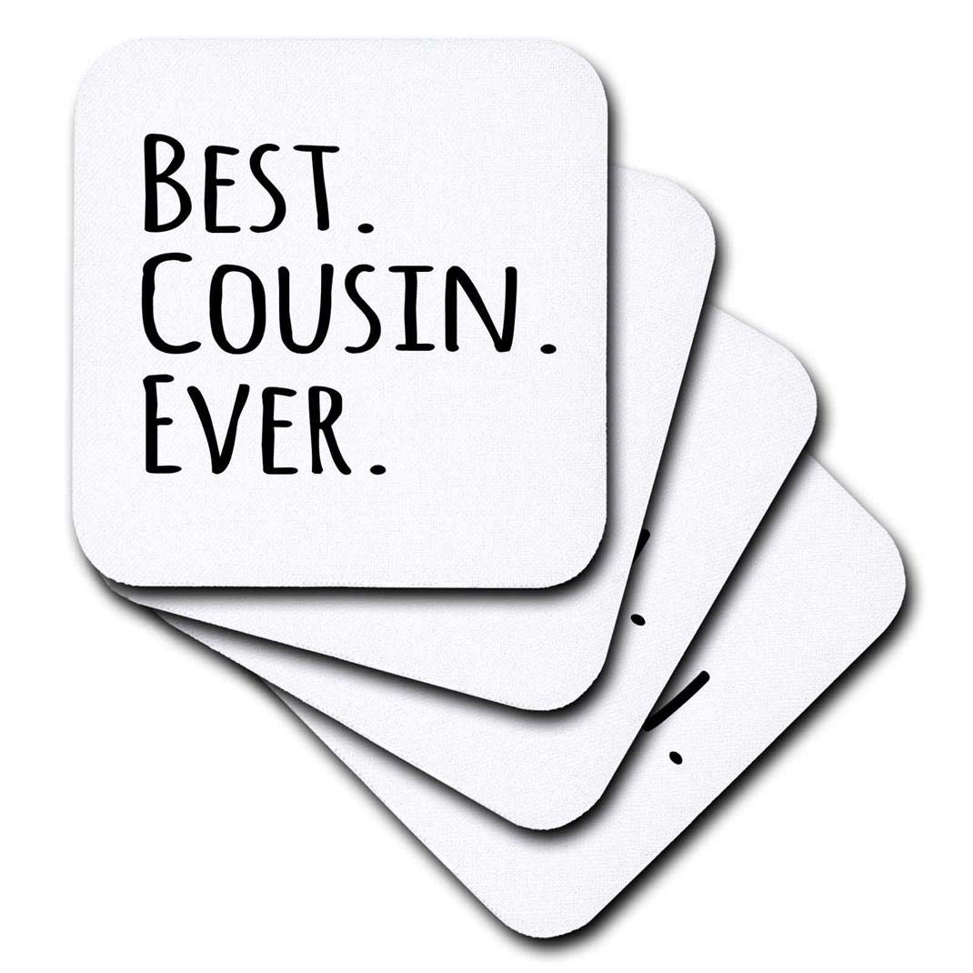 3dRose CST/_151484/_3 Best Cousin Ever Gifts for Family and Relatives Black Text Ceramic Tile Coasters Set of 4