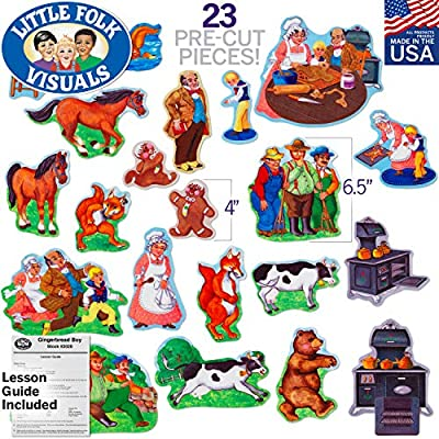 Little Folk Visuals Gingerbread Boy Precut Flannel/Felt Board Figures, 23 Pieces Set: Toys & Games