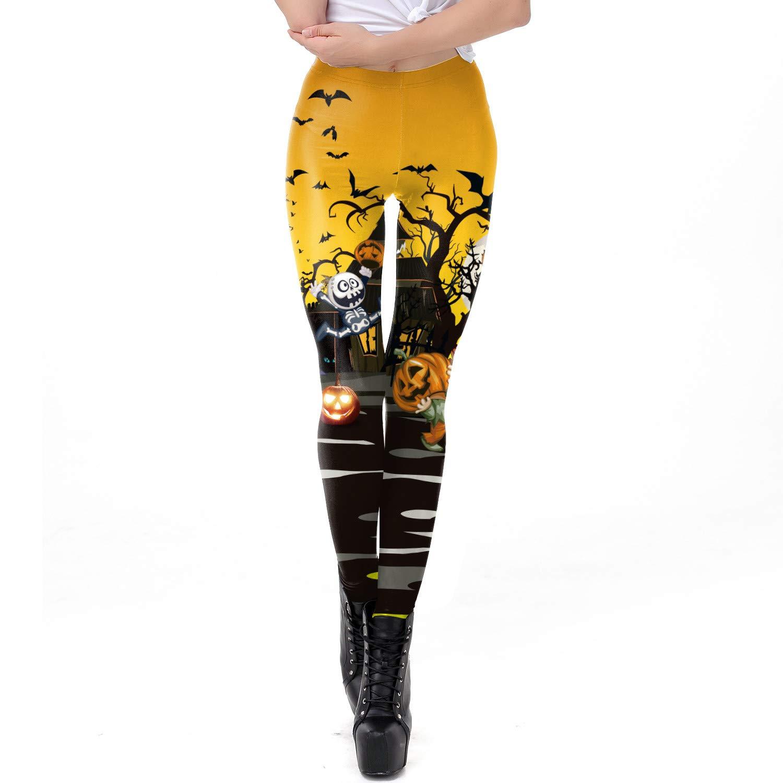 Mrsrui High Waist Yoga Pants, Four Stretch Stretch Leggings Slim Fit Pull On Hallonween Print by Mrsrui