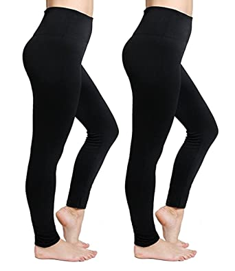 763f0d14bbdbd6 Fleece Lined Black Leggings For Women Stretchy High Waist Warm Winter  Leggings - One Size