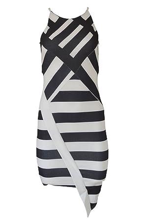 Ex River Island Womens Stunning Black White Stripe Bodycon Dress At