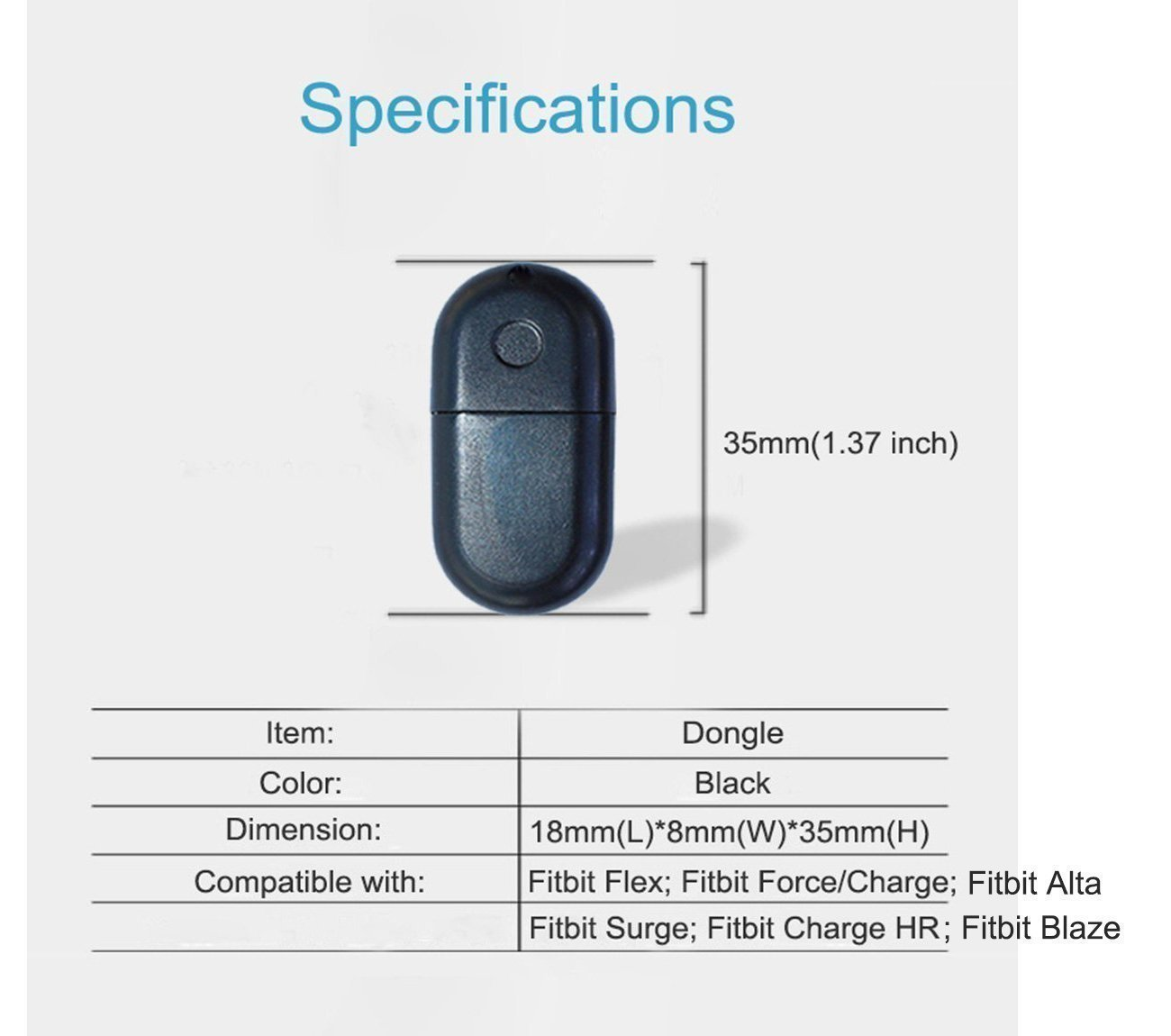 Compatible with Fitbit Wireless Dongle Replacement USB Wireless Sync Dongle  for Charge 3/ Ionic/Flex 2/ Charge 2/ Alta HR/Blaze/Surge/Charge