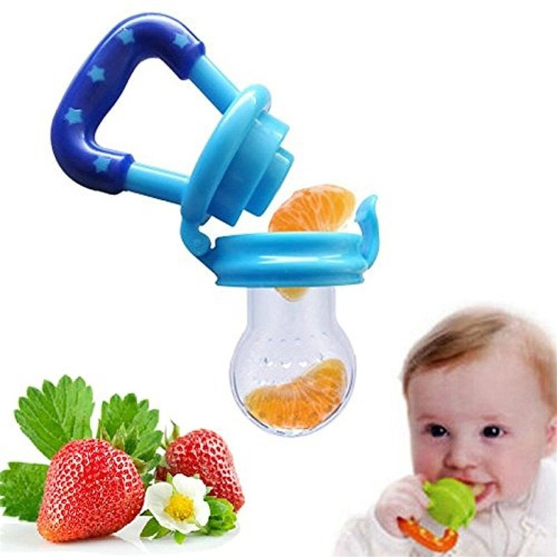 Gearmax for Baby Feeder Pacifier Teether Nipple Silicone Sac for Feeding Food Fruit (M, Blue)