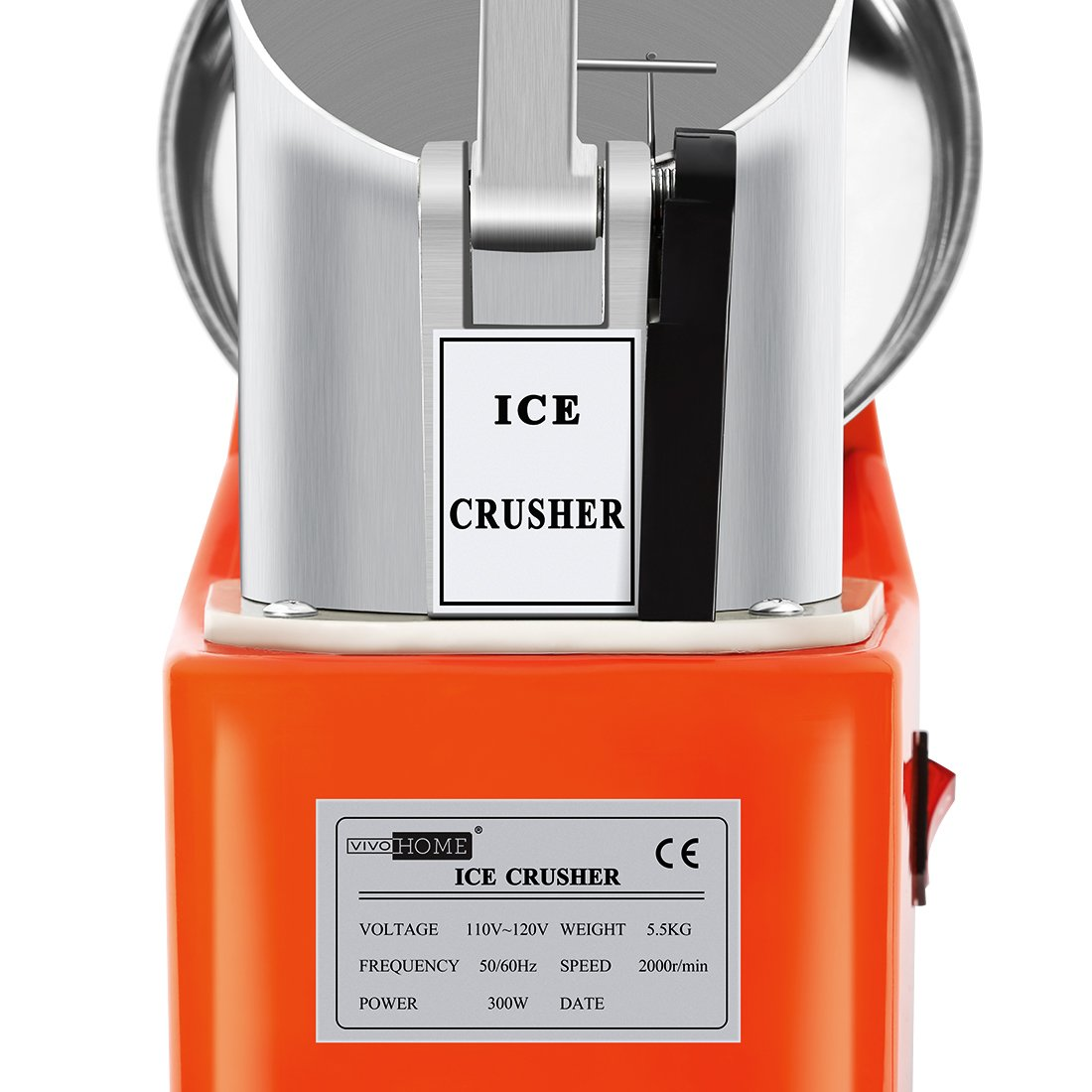 VIVOHOME Electric Ice Crusher Shaver Snow Cone Maker Machine Orange 143lbs/hr for Home and Commerical Use by VIVOHOME (Image #2)