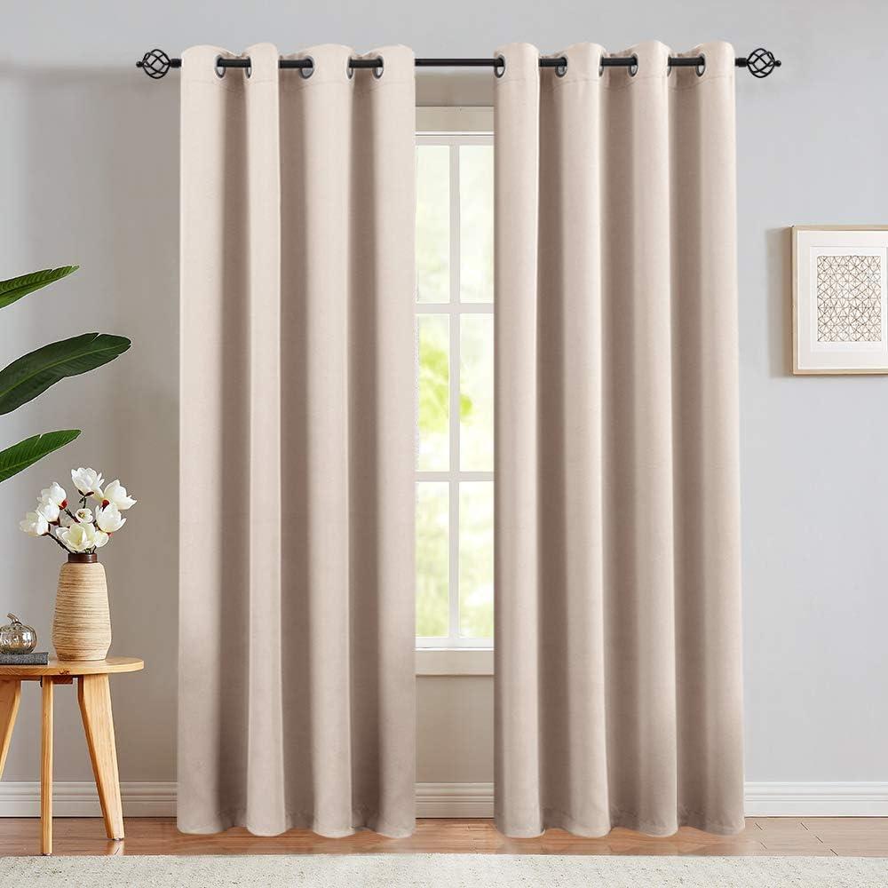 Window Curtains Grommet Top Light Blocking for Living Room//Bedroom 2 Panels