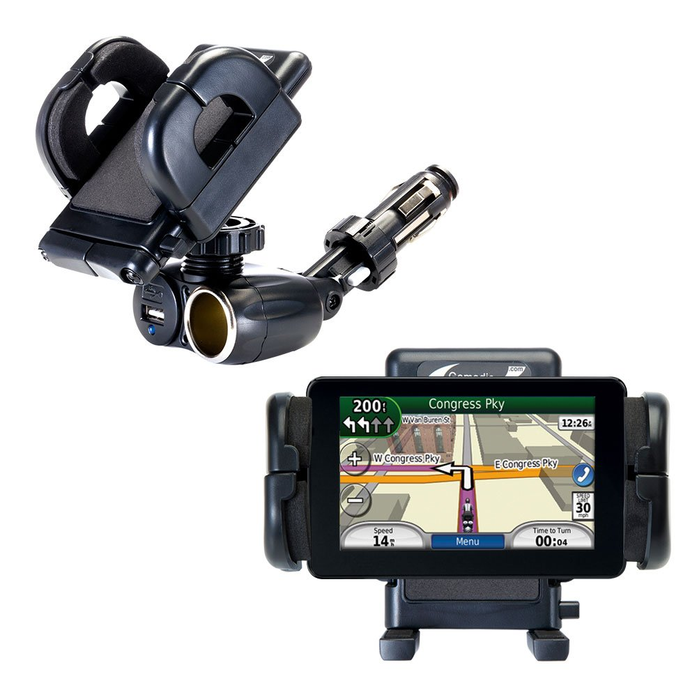 Dual Car Cigarette Lighter Charger Mount and Holder for the Garmin Nuvi 3590 3590LMT Features 12V Adapter and Charging USB Port