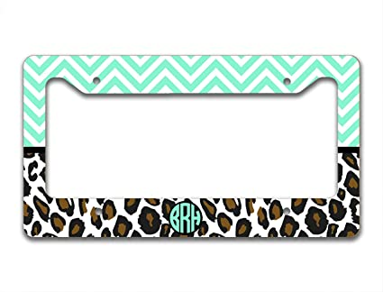 Amazon.com: Monogram customized license plate frame - Mint green ...