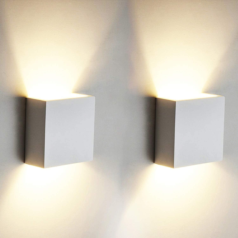 2 PCS 6W LED de pared Arriba abajo Lámpara de pared interior Moderno Aplique de pared Accesorios de iluminación para la sala de estar Dormitorio Baño Cocina Comedor, Blanco cálido