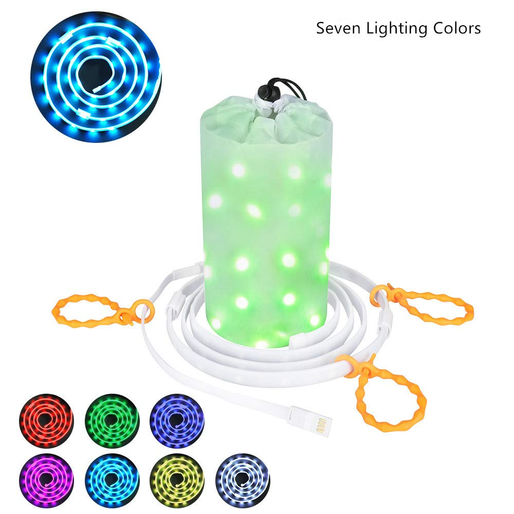 Dust2Oasis Camping Lights String, Portable Outdoor Camping Tent Light Lantern USB Powered LED Rope Light Strip Light for Camping,Hiking,Safety,Emergencies,Garden,Party, Bedroom Deco Multi Color