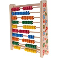 KARP Math Counting Toy - Colorful Wood Frame Montessori Abacus Toys for Kids, Children