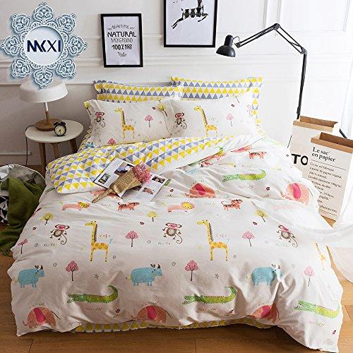 MKXI Grassland Animal Friends Giraffe Elephant Monkey Bedding Yellow Blue Brown Girls Teen kids Twin Duvet Cover Set 100% Cotton