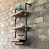 Furniture Pipeline Industrial Chic, 3 Tiered Étagère Wall Mounted Pipe Shelf Rack Multipurpose, Metal with Reclaimed Wood Finish (Grey Steel Pipes and Brass Fittings with Natural Stained Wood)