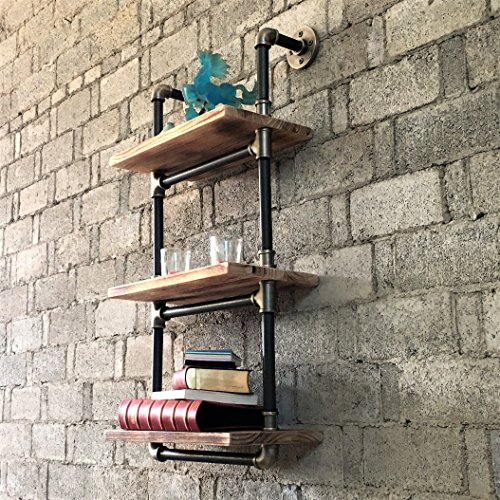 Furniture Pipeline Industrial Chic, 3 Tiered Étagère Wall Mounted Pipe Shelf  Rack Multipurpose, Metal With Reclaimed Wood Finish (Grey Steel Pipes And  Brass ...