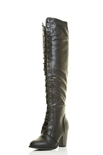 72ec746ddb6e Forever Women s Thigh High Over-The-Knee Lace-Up Mid-Heel Boot