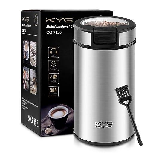 KYG Molinillo de Café Eléctrico 200W Muele Potente para Espresso Capacidad 60g Molinillo con Cuchilla Acero Inoxidable Apto para Especias Pimientas ...