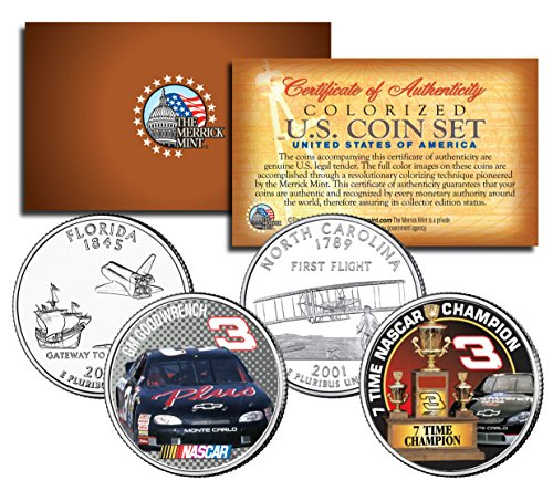 DALE EARNHARDT * 7-Time Champ * GM Goodwrench * NC & FL Quarters U.S. 2-Coin Set (Nascar Set Coin)