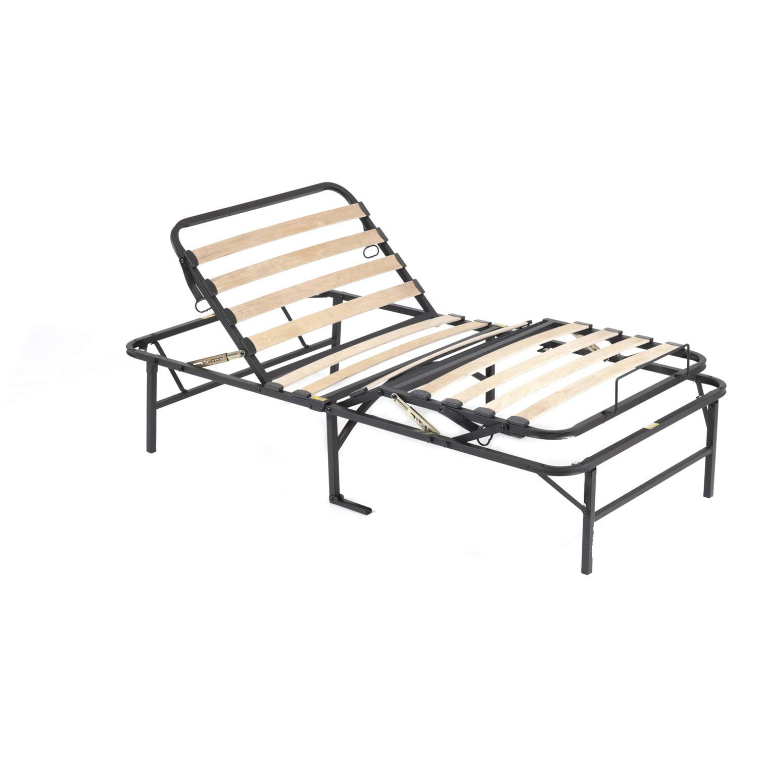 Wood Slat Foundation, Sturdy Steel Construction with Durable and Flexible Support Wires, Manually Adjustable Head up to 80 Degrees and Foot 30 Degrees, No Box Spring or Frame Required, Twin