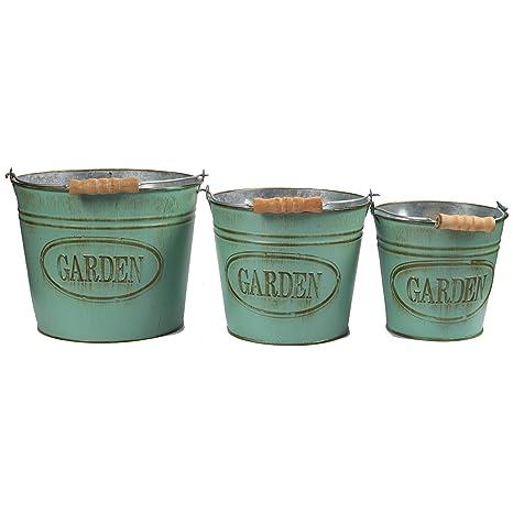vintage planter buckets 3 set garden bucket with handle galvanized metal pail