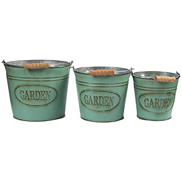 Delightful Vintage Planter Buckets   3 Set Garden Bucket With Handle, Galvanized Metal  Pail,