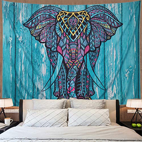 Elephant Tapestry Vintage Blue Old Wooden Plank Tapestry Wall Hanging Bohemian Mandala Tapestry Psychedelic Wall Tapestry Watercolor Hippie Indian Tapestry Decor(Blue Elephant,51.2
