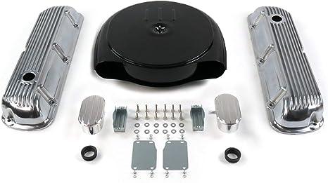 PCV SBF Blk Caddy AC//Finned Engine Dress Up kitw// Breathers 289-351 VPA7ACA2